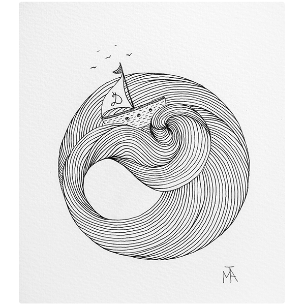 Boat Waves Lines Tattoo Idea Minimal Sketch Drawing
