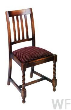 wooden frame dining chair with upholstered seat available in a variety of colours