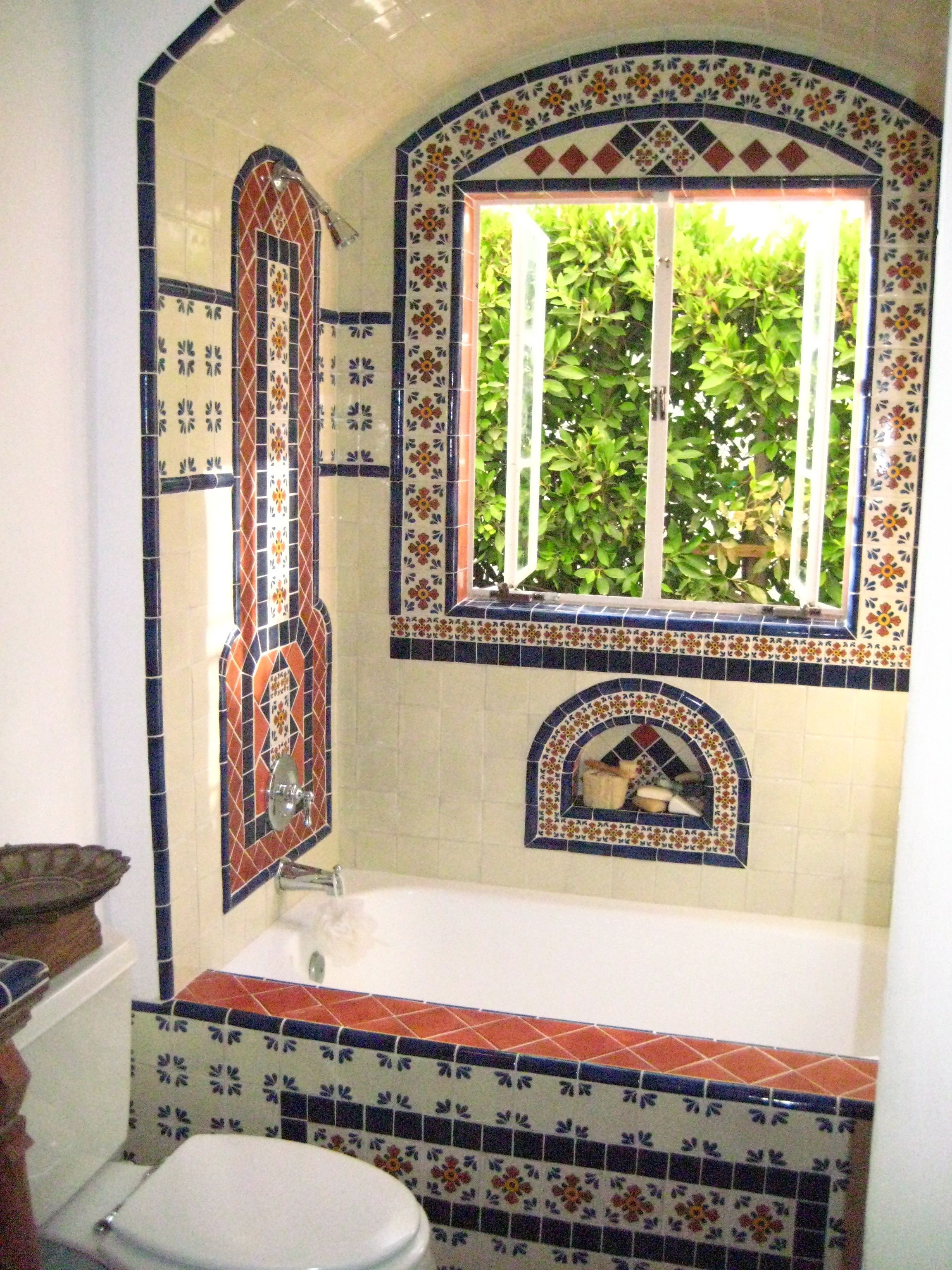 I Like The Use Of Mexican Tile @ Tub And In Shower. Would Like A Larger  Built In To Hold Shampoos, Etc.