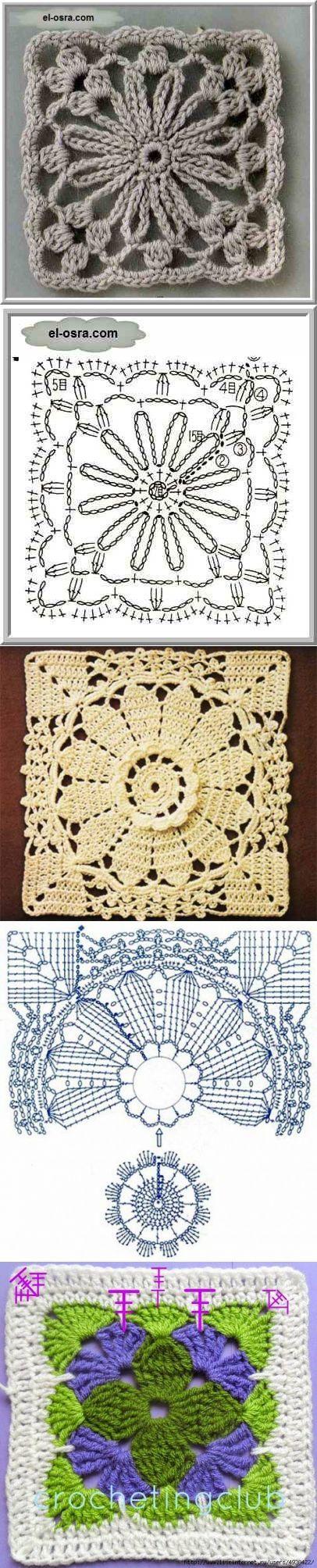 вязание крючок | kalakendra | Pinterest | Ganchillo, Tejido y Cuadrados