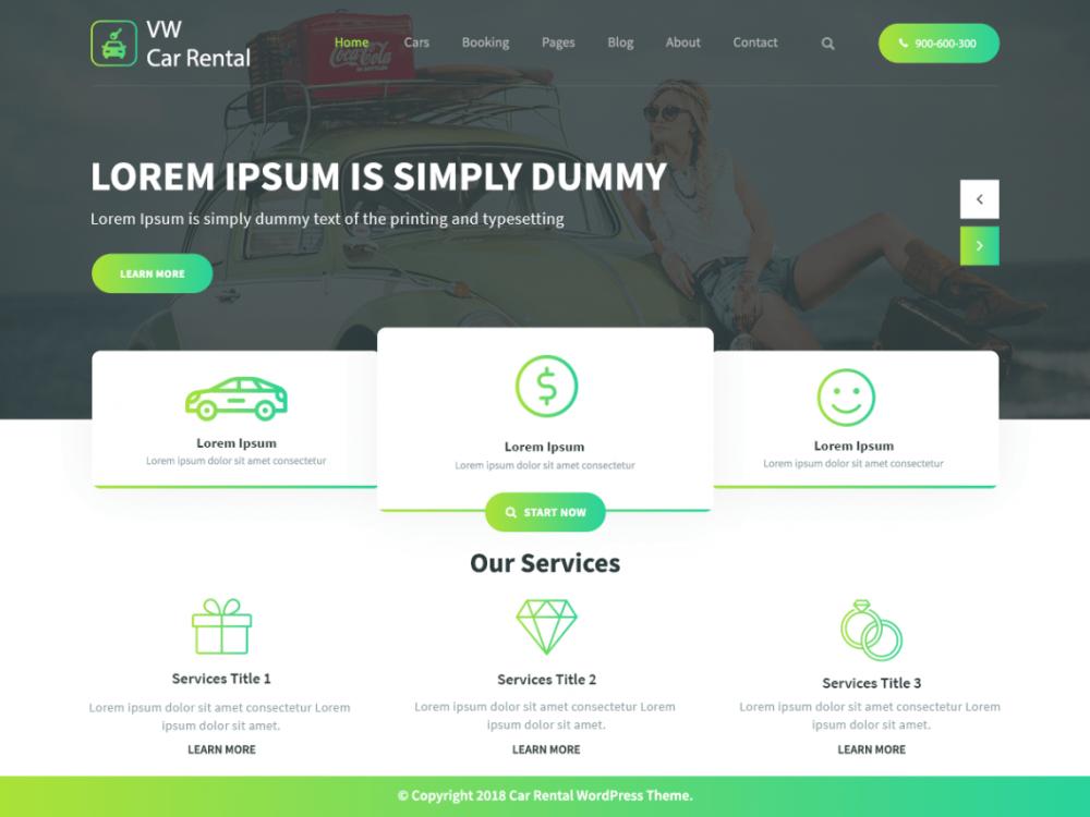 Free Vw Car Rental Wordpress Theme Car Rental Wordpress Theme Best Free Wordpress Themes