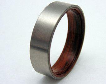 Mens Ring Rosewood And Titanium Wedding Band Wood Waterproof Sealed