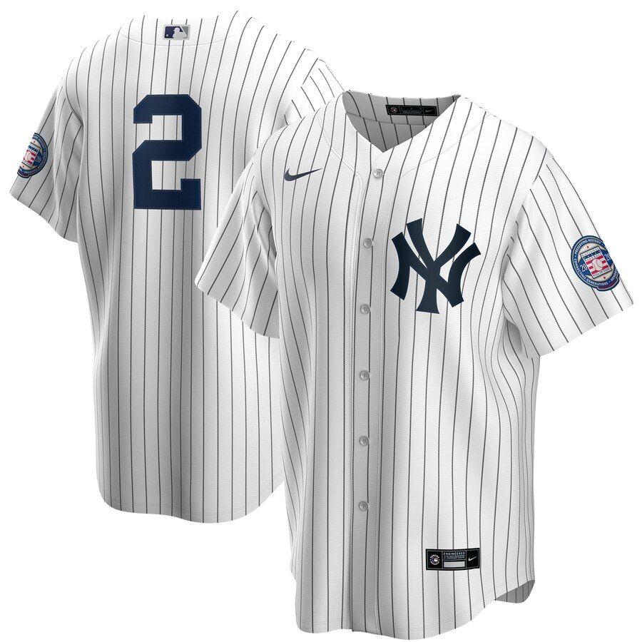 Men S New York Yankees Derek Jeter Nike White Navy 2020 Hall Of Fame Induction Replica Jersey In 2020 New York Yankees Baseball New York Yankees Yankees Baseball