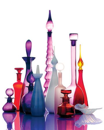 American, Scandinavian, and Italian colored decanters