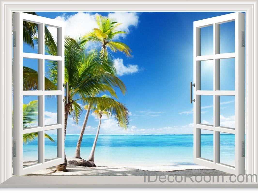 Sunshine Coast Palm Tree Cloud Window View Removable Wall