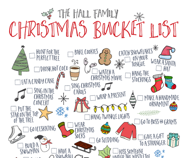 15 Digital Download Custom Christmas Bucket List You Can