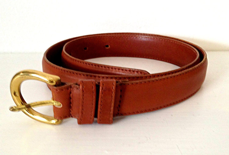 vintage coach leather belt with brass buckle sz medium british