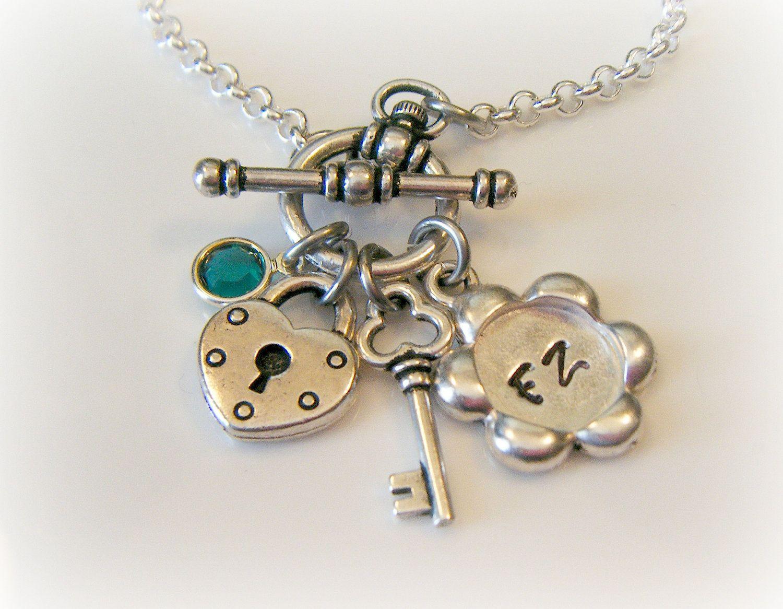 Key to my heart bracelet - Hand Stamped Bracelet - Charm Bracelet. $37.00, via Etsy.