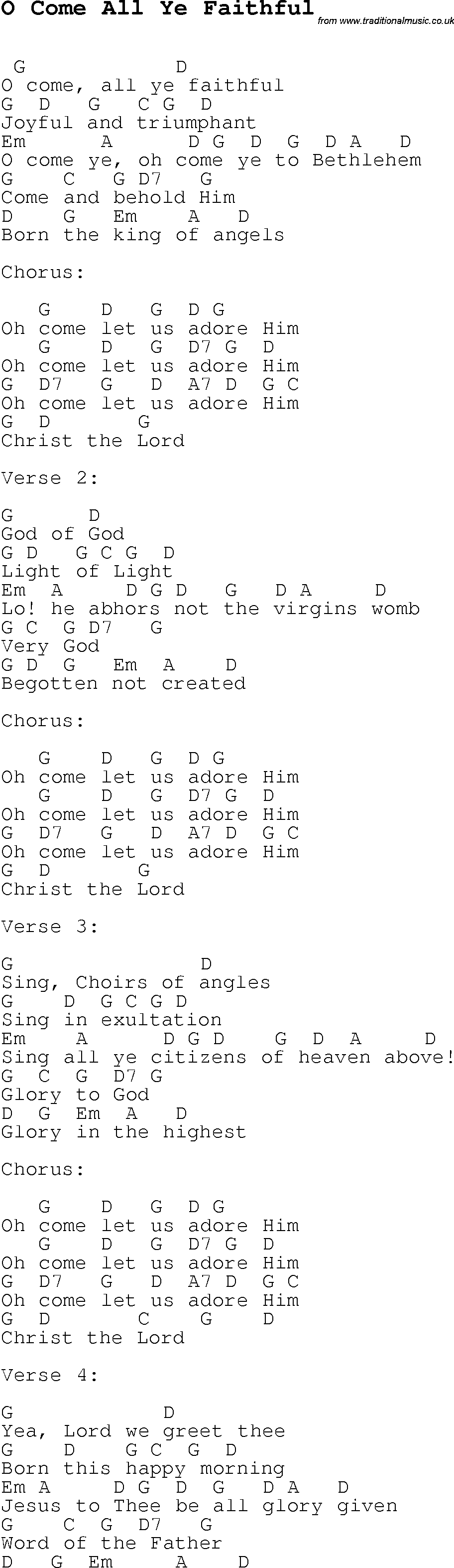 Christmas Songs and Carols, lyrics with chords for guitar banjo for O Come All Ye Faithful ...