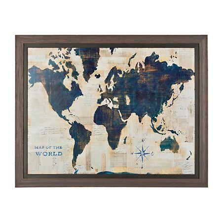 Blue and cream world map framed art print map frame navy bedrooms blue and cream world map framed art print gumiabroncs Gallery