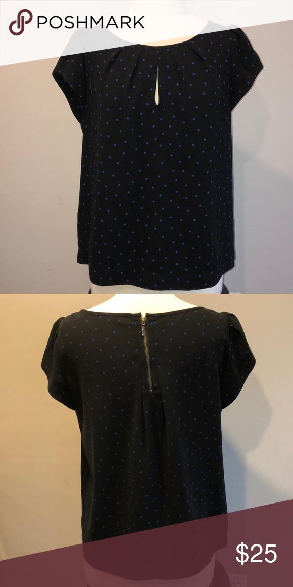 4cd4426e Blue Polka Dot Zara Basic Blouse Sz XL Short-sleeved Zara Basic Blouse. Dark  blue with light blue polka dots. Zips in the back and has very small  keyhole in ...