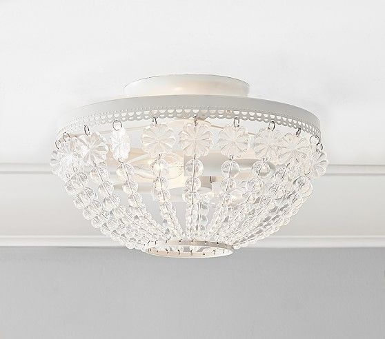 Pottery Barn Ruby Chandelier: Dome Beaded Flushmount Chandelier