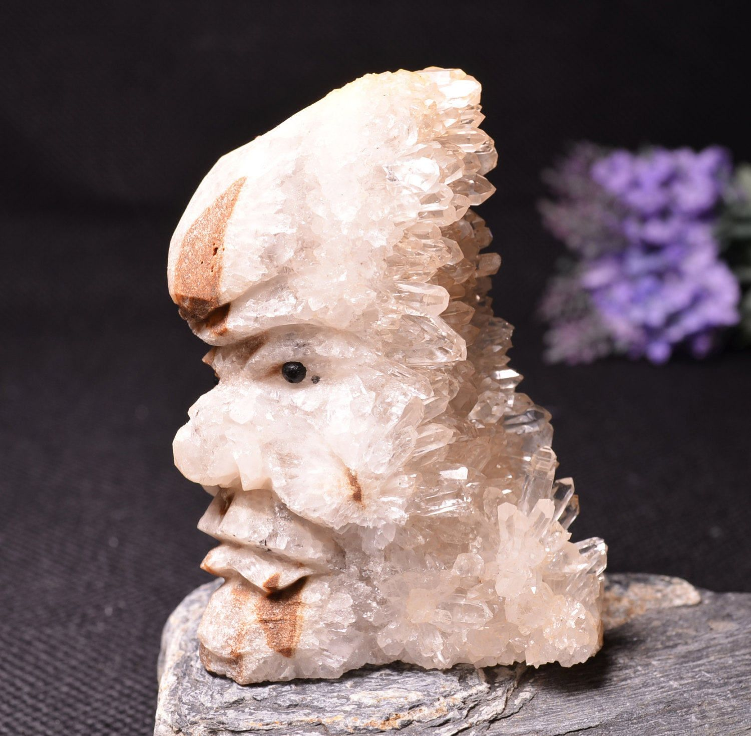 Special Quartz Cluster Carving Indian Face Home Decor Display