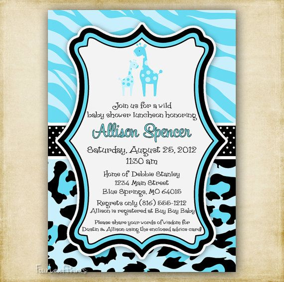 Blue zebra and leopard print giraffe baby by fourleafprints 1300 this blue cheetah baby shower invite matches party city blue zebra and leopard print giraffe baby shower invitation filmwisefo Gallery