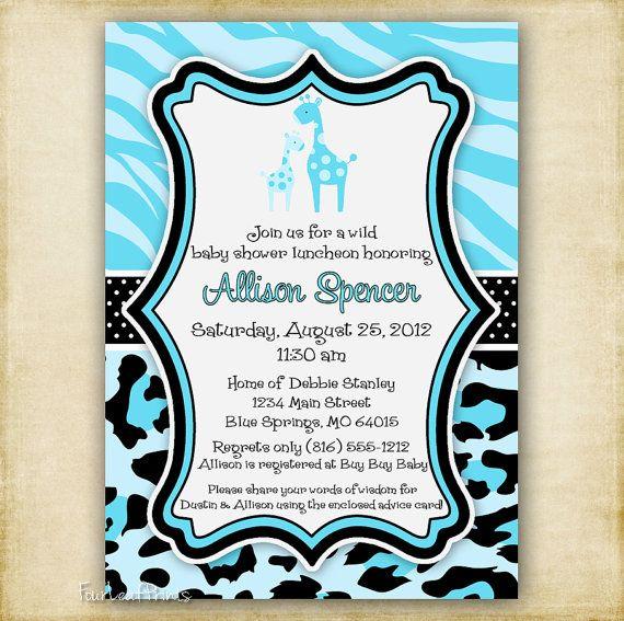 blue zebra and leopard print giraffe baby by fourleafprints, Baby shower