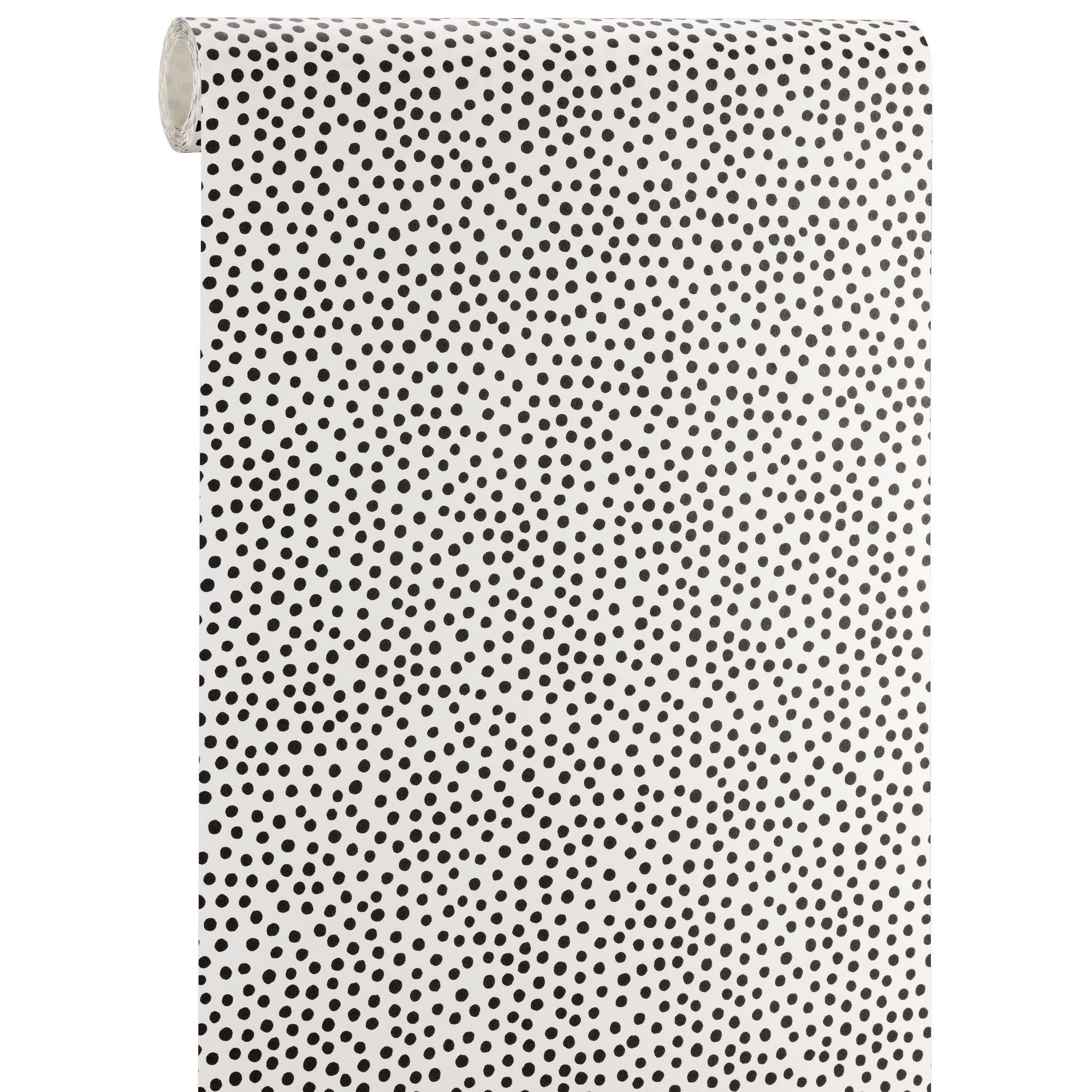 behang polka wit/zwart #behang #wonen #kwantum #muurdecoratie, Deco ideeën