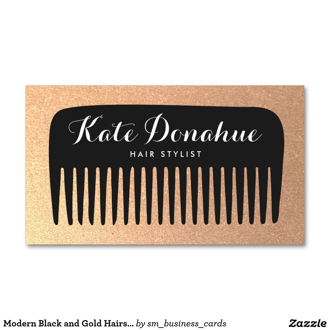 Black and Gold Glitter Hair Stylist Comb Business Card | Business ...