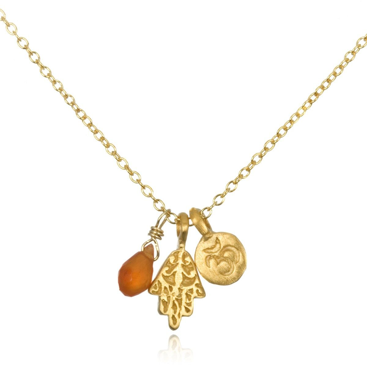 Hamsa Amp Om Charm Necklace With Carnelian In Gold Satya