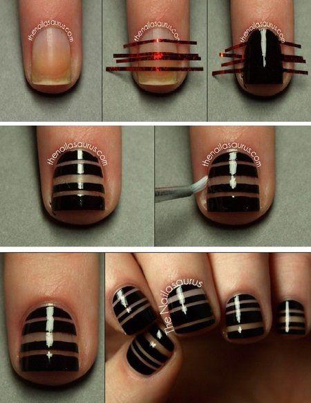 Black Tape Nail Art Nailart Polish Stripes Bellashoot