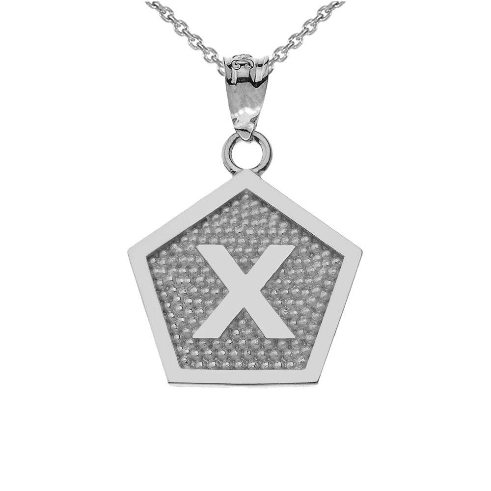 White Gold Letter X Initial Pentagon Pendant Necklace Initial Necklace Gold Blue Sapphire Necklace Initial Necklace