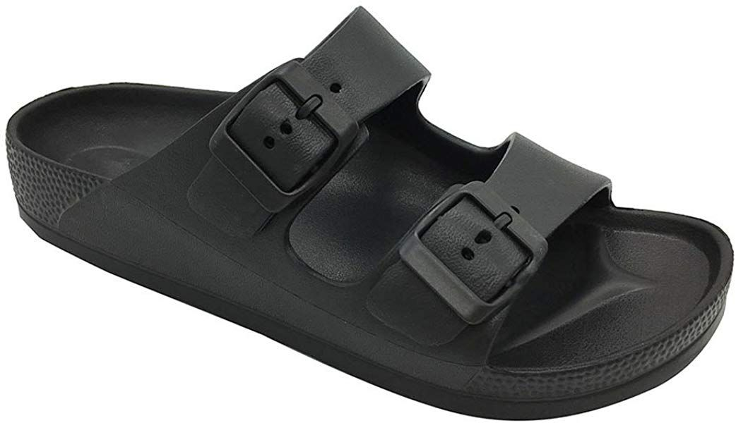 e21162dcb2bf Amazon.com | FUNKYMONKEY Women's Comfort Slides Double Buckle ...