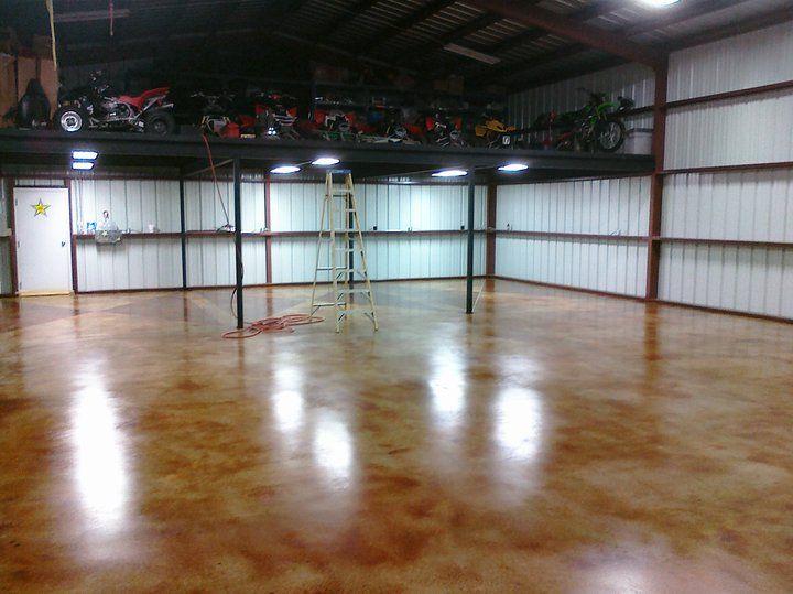 Shop Floor Acid Stain And Custom Logo Denton, TX   ESR Decorative Concrete  Experts