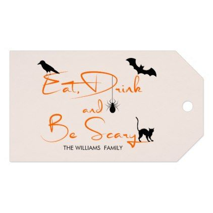 Eat Drink And Be Scary Halloween Gift Tags  Minimal Gifts Style