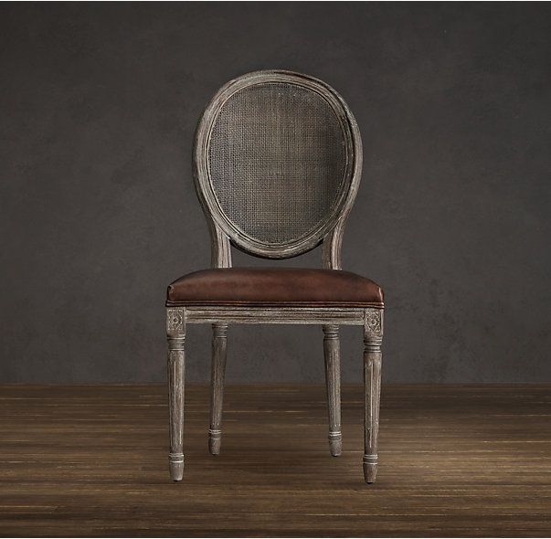 RHu0027s Vintage French Round Cane Back Leather Side Chair:Weu0027ve Reproduced The  Classic