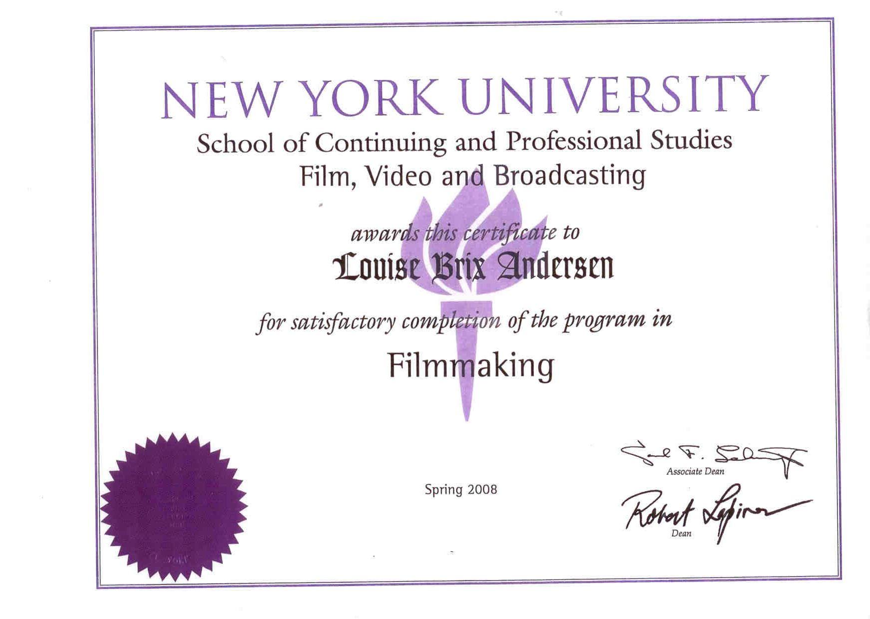 Certificate In Filmmaking At The Nyu School Of Continuing Professional Studies Filmmaking Study York University
