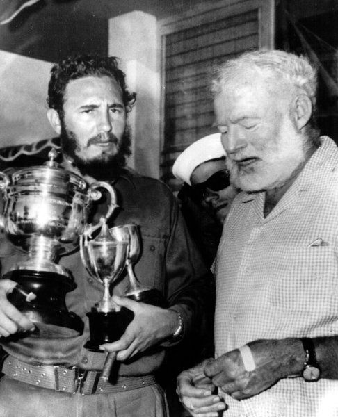 Fidel Castro and Ernest Hemingway. Is no secret that Hemingway loved Cuba, so much that he practically lived there at times.