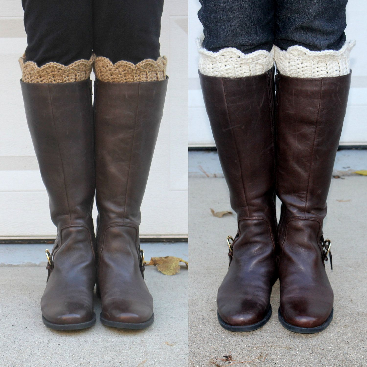 Crochet boot cuffs. Saw other boot cuffs with a flower attached too ...