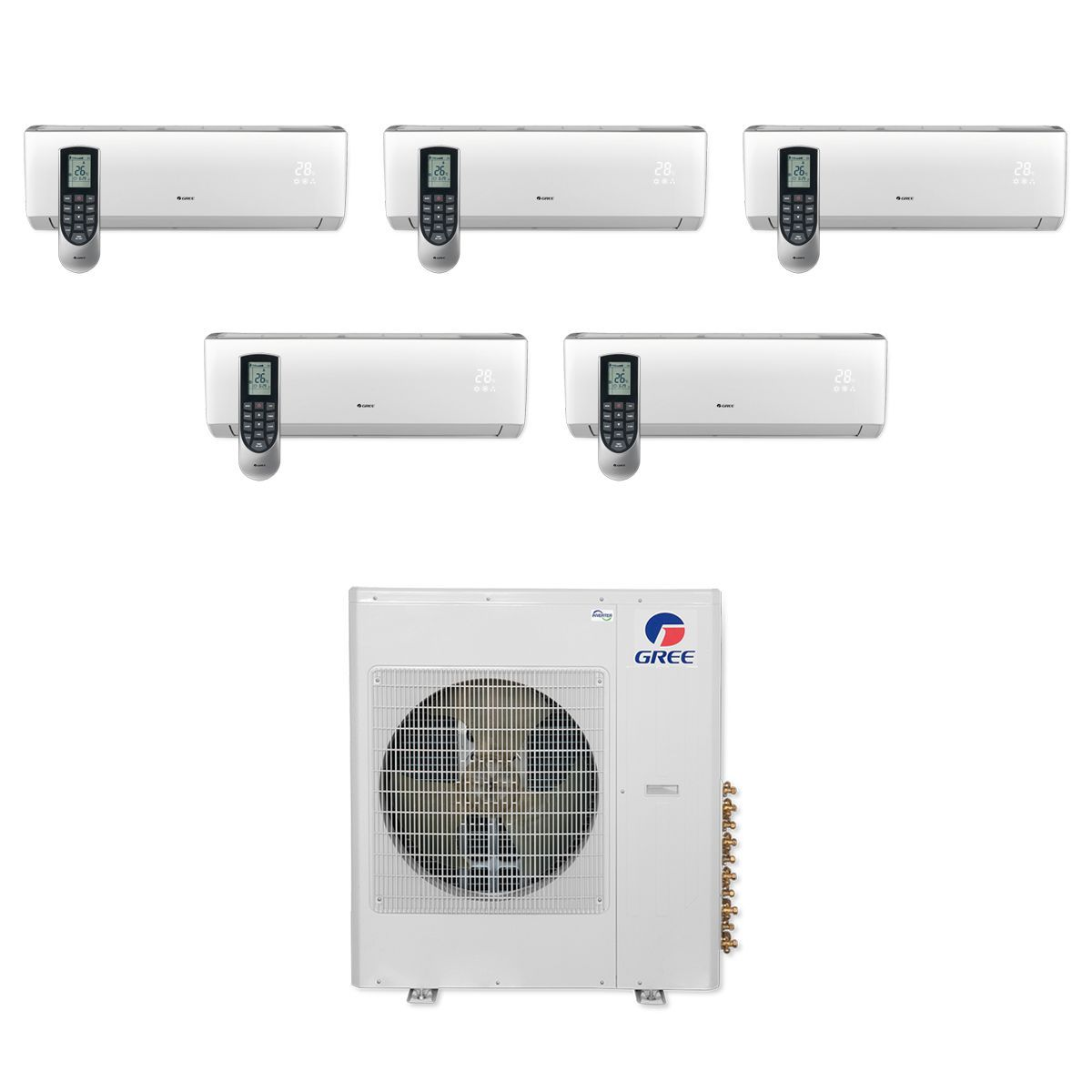 Gree 42 000 Btu Multi21 Penta Zone Wall Mount Mini Split Air Conditioner Heat Pump 208 230v Seer 21 9 9 9 9 9 Heat Pump Window Unit