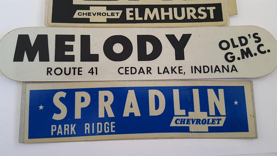 Vintage late 70's Car Dealership stickers original decals