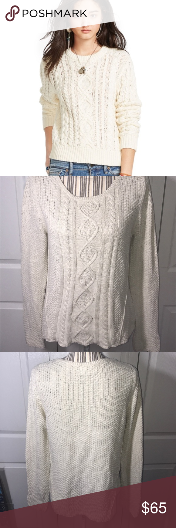 Ralph Lauren [Denim & Supply] Cable Knit Sweater Sz Medium / 18 ...