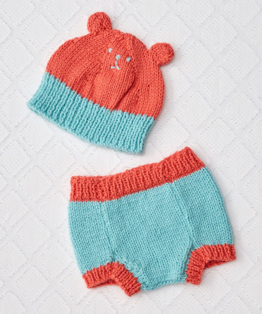 Knit Bear Hat and Diaper Cover Free Baby Knitting Pattern | Free ...