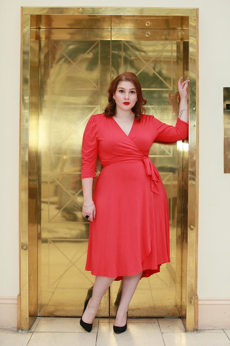 Photo of Simply elegant in our plus size Winona Hi-Lo Wrap Dress!