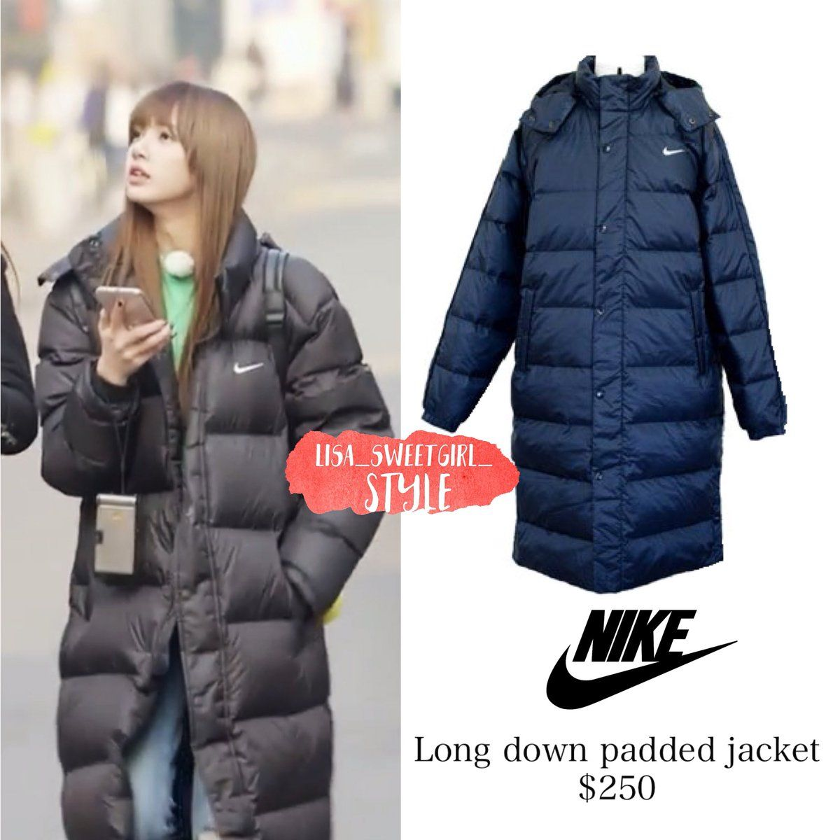 competitive price 29d6d 441e3 Blackpink lisa nike coat jacket parka