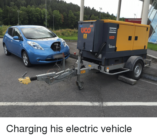 No This Is Not A Petrol Generator Charging An Electric Car Fact