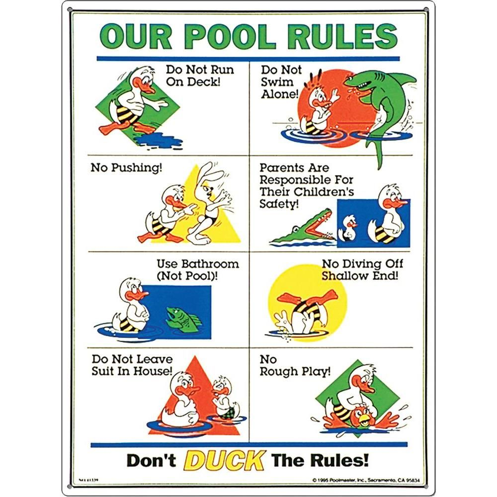Poolmaster Don T Duck The Rules Swimming Pool Sign 41339 The Home Depot In 2021 Pool Rules Pool Rules Sign Pool Signs
