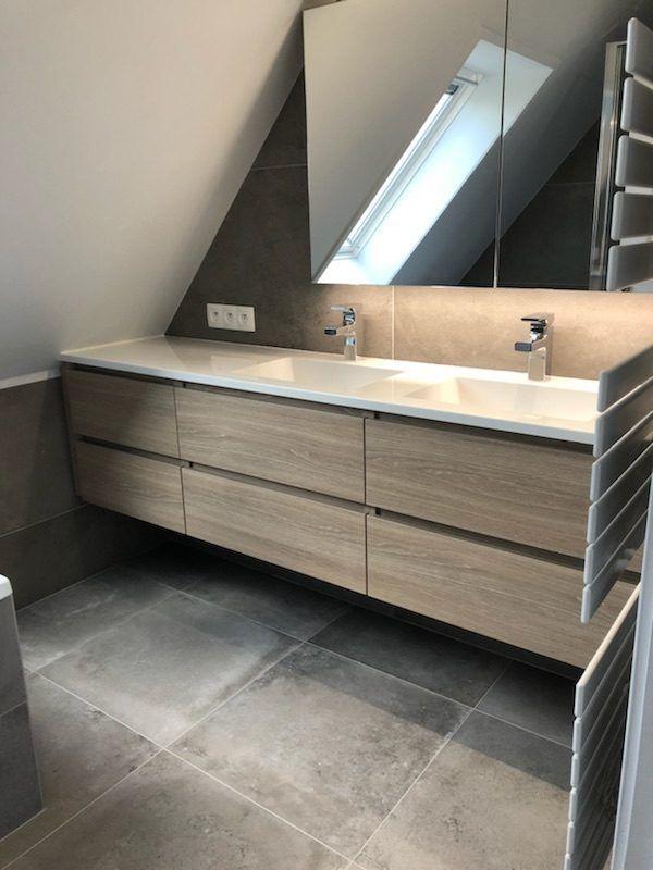 R novation d une salle de bain avec grand meuble Meuble sous mansarde