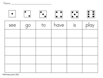 Roll a Sight Word (editable) | TPT Pinning Board | Sight