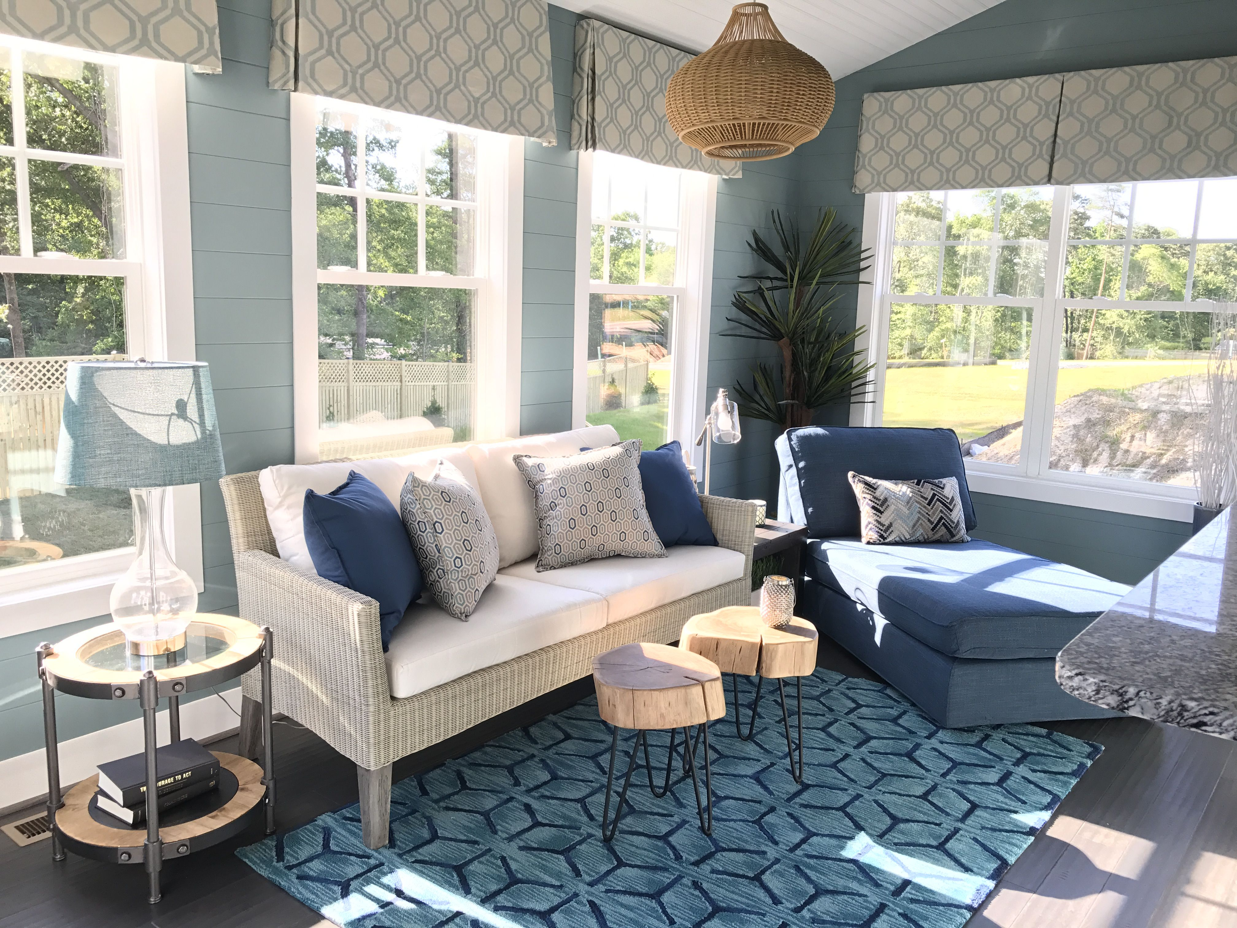 Fabulous A Model Home With A Calming Blue Sunroom Forskolin Free Trial Chair Design Images Forskolin Free Trialorg