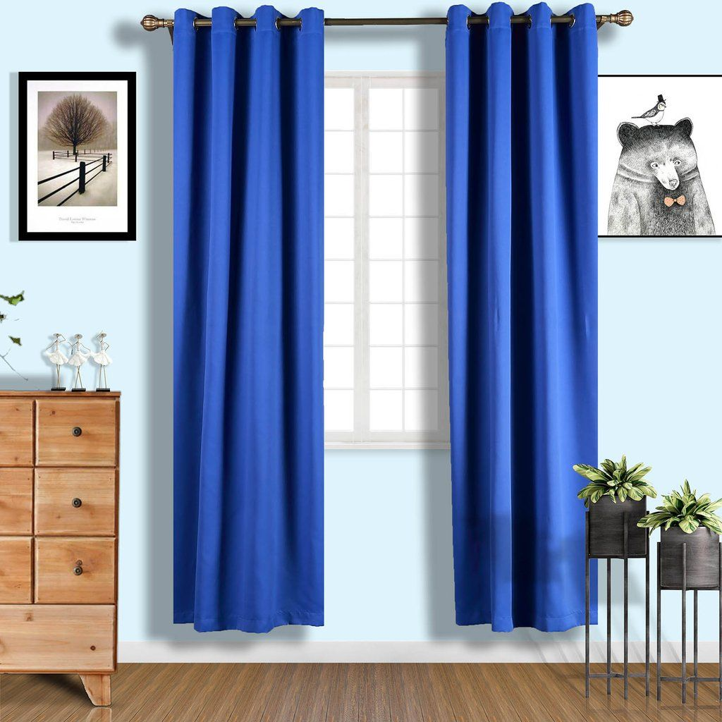 Royal Blue Blackout Curtains 2 Packs 52 X 96 Inch Grommet