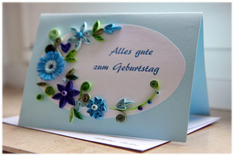 Quilling Glückwunschkarte *Geburtstag* Blau Von Liebeabies Auf DaWanda.com