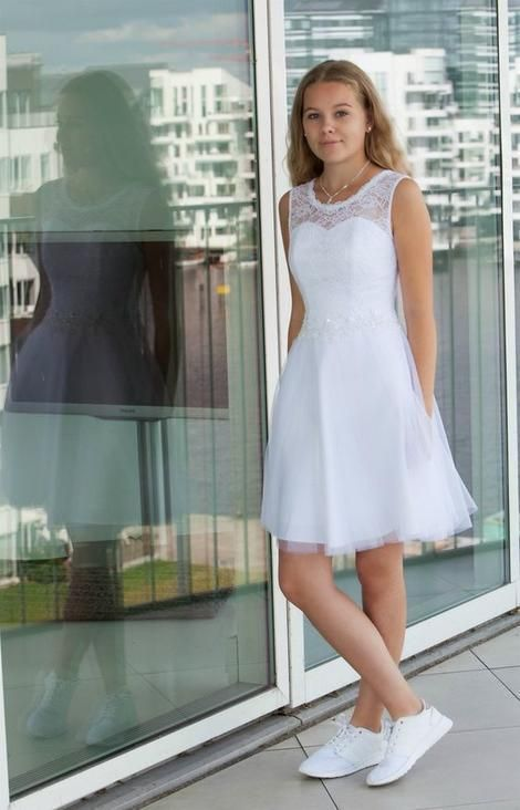 Elegant White Tulle Pearls Prom Dress, Short Homecoming Dress, A Line Prom Dresses by fancygirldress, $136.80 USD #confirmationdresses