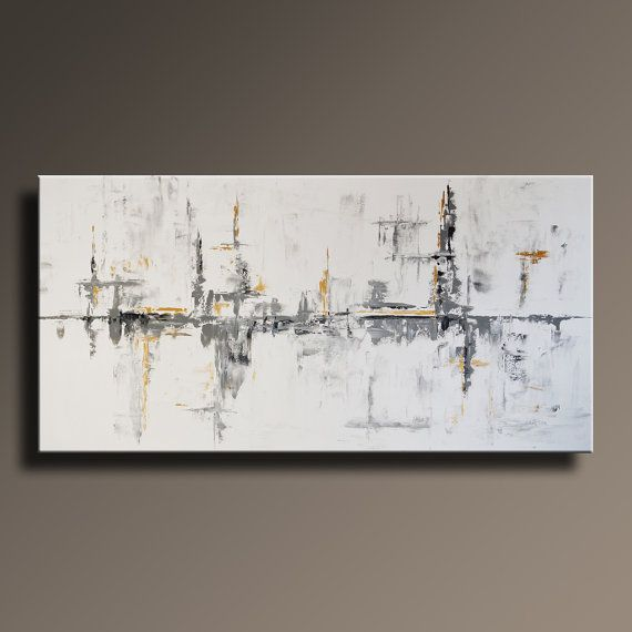 72 large original abstract black white gray gold painting on canvas contemporary abstract modern art