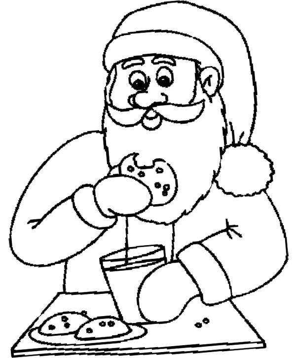 Santa Eating Chocolate Chip Cookie Coloring Page Chocolate Chip Cookies Coloring Pages Chip Cookies