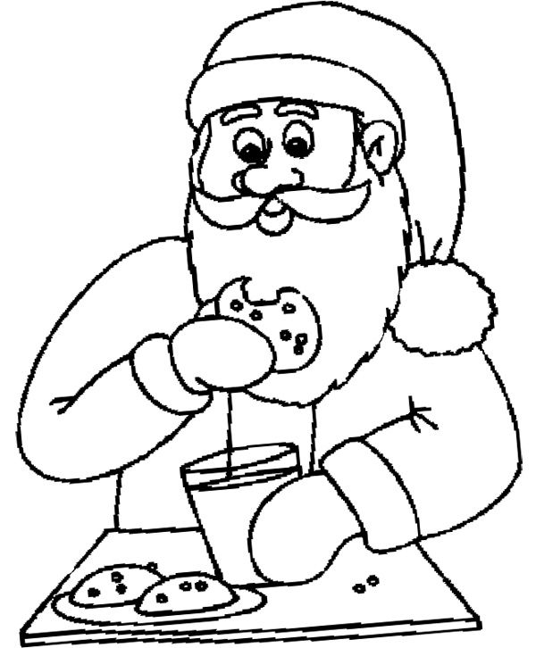 Santa Eating Chocolate Chip Cookie Coloring Page Coloring Pages