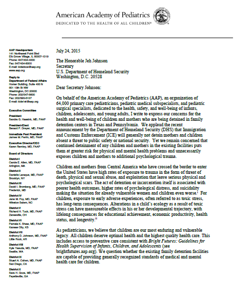 American Academy Of Pediatrics Letter On Family Detention  End