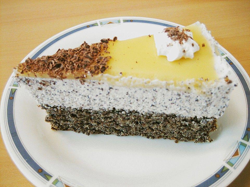 Mohn Sahnetorte Rezept Sahnetorte Lebensmittel Essen Und Kuchen Und Torten